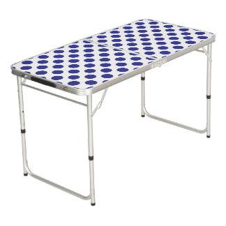 Deep Blue Polka Dots Pong Table