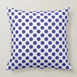 Deep Blue Polka Dots Throw Pillow