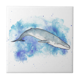 Deep blue whale small square tile