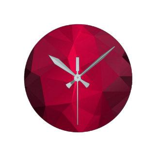 Deep Cherry Fractal pattern Funky Template. Round Clock