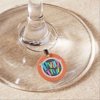 Deep Orange Polka Dots Wine Glass Charm