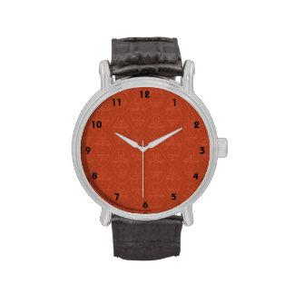 Deep Orange Vintage Damask Pattern Wrist Watches