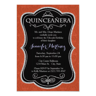 Deep Orange Vintage Damask Pattern Invitations