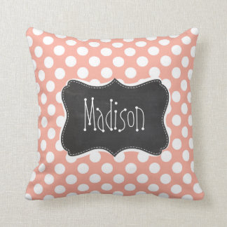 Deep Peach Polka Dots; Chalkboard Cushions
