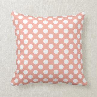 Deep Peach Polka Dots Throw Cushion