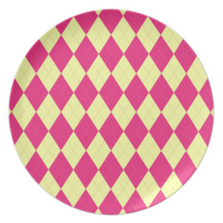 Deep Pink and Yellow Argyle Plate