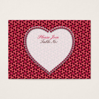 Deep Pink Hearts Wedding Table Seat Cards