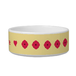 Deep pink poppies on cream personalized pet water bowl