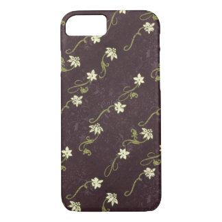 Deep Purple, Cream and Green Floral Pattern iPhone 7 Case