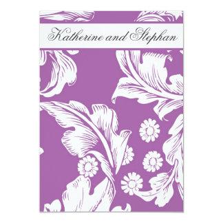 deep purple floral wedding anniversary card