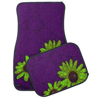 Deep Purple Florescent Sunflowers Car Mat