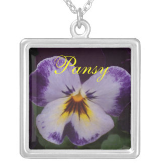 Deep Purple Pansies Personalized Necklace