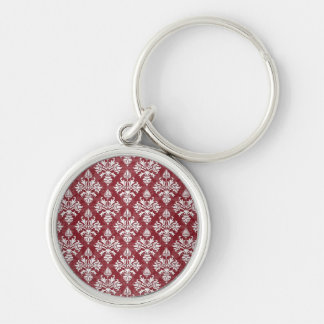 Deep Red and White Floral Damask Pattern Key Ring