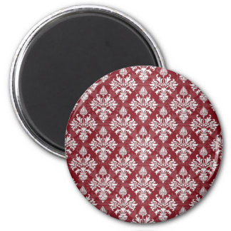Deep Red and White Floral Damask Pattern 6 Cm Round Magnet