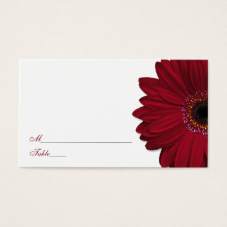 Deep Red Gerber Daisy Wedding Place Cards