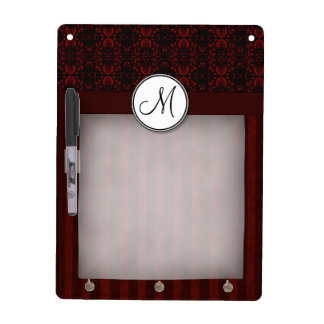Deep Red on Black Damask and Stripes with Monogram Dry-Erase Whiteboards
