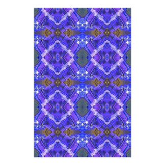 Deep Rich Purple Blue Fractal Tribal Pattern Stationery