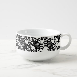 Deep Sea Octopus Black on White Illusion Effect Soup Bowl With Handle