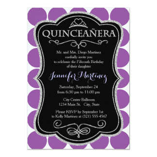 Deep Violet Purple and White Polka Dots, Spots Personalized Invites