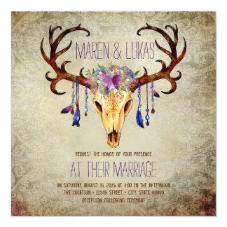 Deer Antler Skull Rustic Country Wedding 13 Cm X 13 Cm Square Invitation Card