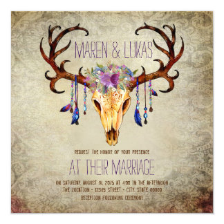 Deer Antler Skull Rustic Country Wedding Card