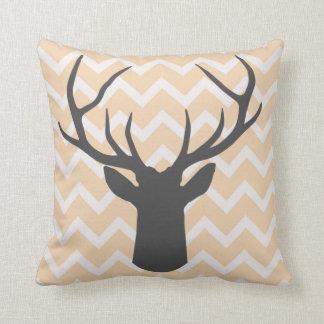 Deer Antlers with butterscotch chevron motifs Throw Pillow