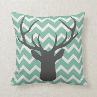 Deer Antlers with sage green chevron motifs Cushion