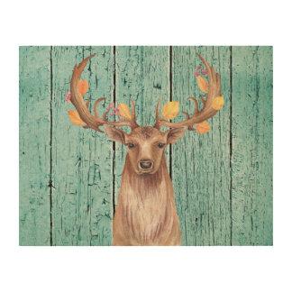 Deer Fall Antlers Wood Wall Art