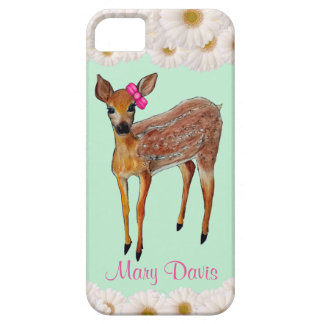 Deer Fawn with Daisies Phone Case