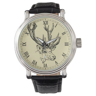 Deer Head Illustration Graphic Wrist Watches