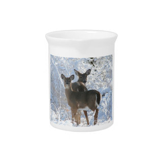 Deer in the Snow Pitcher