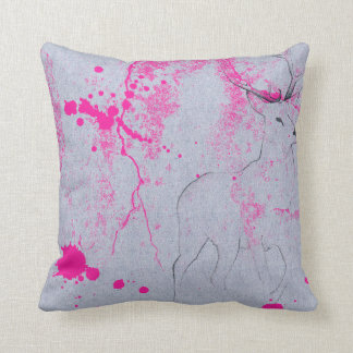 Deer pencil drawing with pink ink stain pattern cushion
