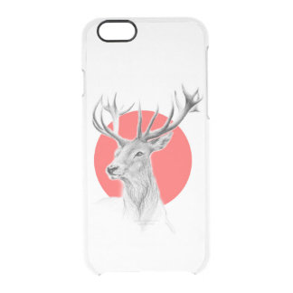 Deer portrait pencil drawing red circle clear iPhone 6/6S case