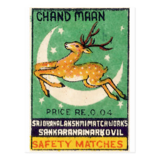 Deer Safety Match Label Postcard