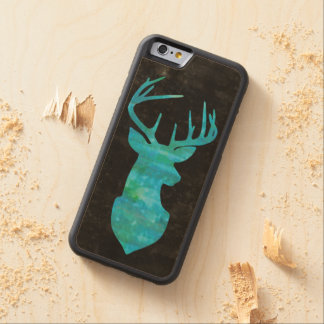 Deer Silhouette in Blue Green Watercolor on Black Maple iPhone 6 Bumper Case