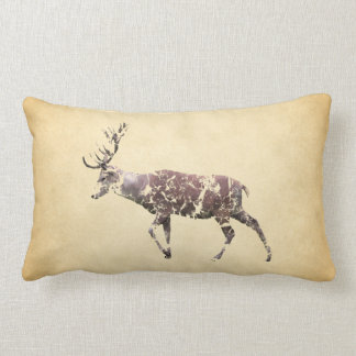 Deer with a Grungy Look Lumbar Pillow
