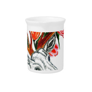 Deer with Flowers Pitcher
