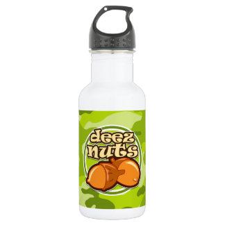 Deez Nuts; bright green camo, camouflage 532 Ml Water Bottle