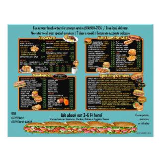 Deli.Sandwich shop.Custom menu.8.5x11 flyer