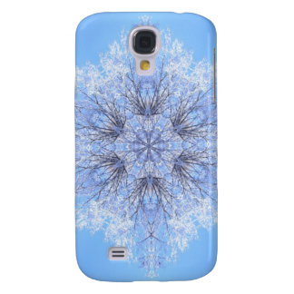 Delicate Blue Snowflake Fractal Galaxy S4 Case