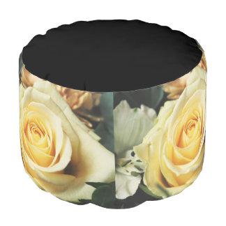 Delicate Cream Country Rose Pouf