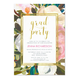 Delicate Floral Watercolor | Graduation Party Card