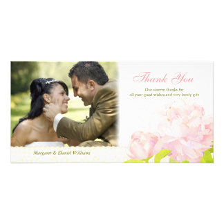 Delicate Peony Modern Wedding Thank You Photocards Photo Greeting Card