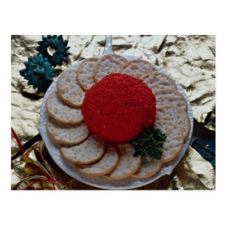 Delicious Caviar with round crackers Postcard