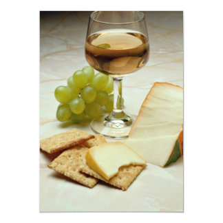 Delicious Cheese, crackers and wine glass 13 Cm X 18 Cm Invitation Card
