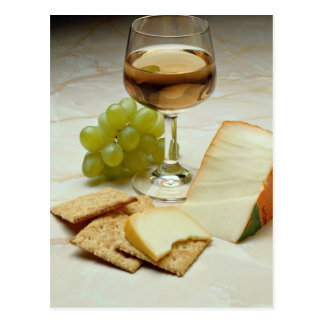 Delicious Cheese crackers and wine glass Postcards