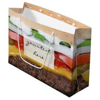 delicious cheeseburger with pickles photograph large gift bag