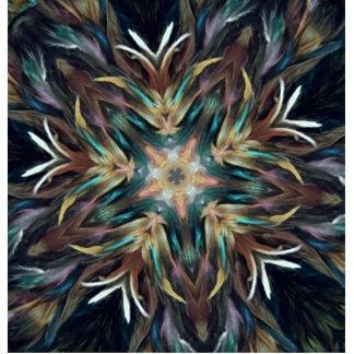Delightful Delicate Feather Mandala Kaleidoscope Photo Cutout