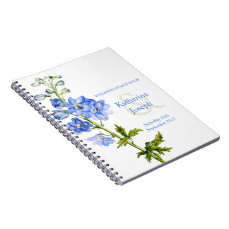 Delphinium watercolor blue wedding guest book spiral note book