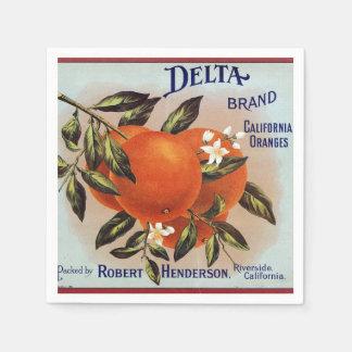 Delta Oranges Fruit Crate Label Paper Serviettes